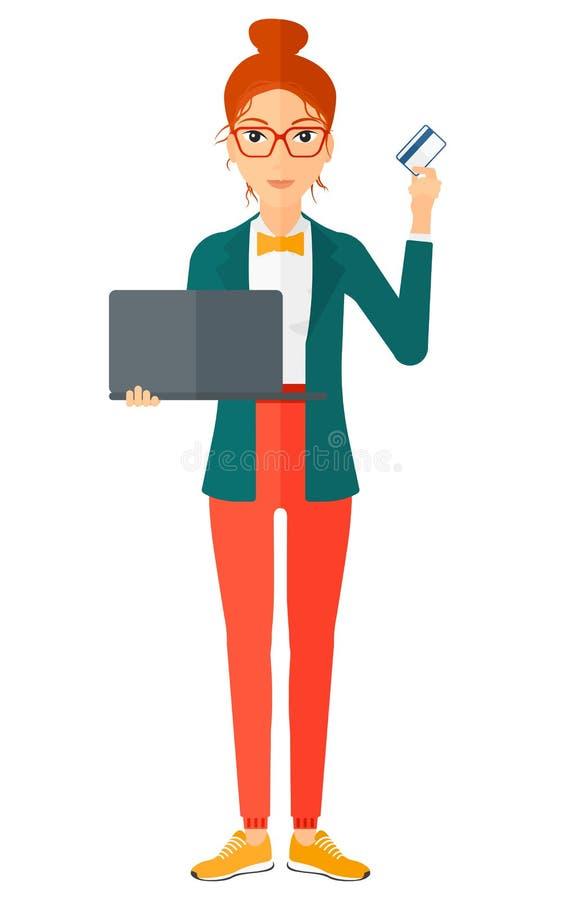 Γυναίκα που καθιστά τις αγορές σε απευθείας σύνδεση διανυσματική απεικόνιση