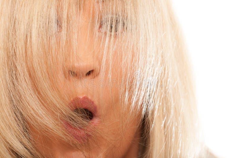 Γυναίκα που καλύπτει το έκπληκτο πρόσωπό της με τη μακριά ευθεία τρίχα στοκ εικόνα με δικαίωμα ελεύθερης χρήσης