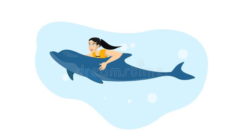 Γυναίκα που κολυμπά με ένα δελφίνι Θερινή δραστηριότητα ελεύθερη απεικόνιση δικαιώματος