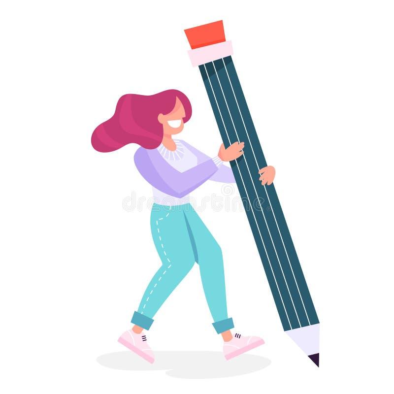 Γυναίκα που κρατά ένα μεγάλο μολύβι Θηλυκό πρόσωπο ελεύθερη απεικόνιση δικαιώματος