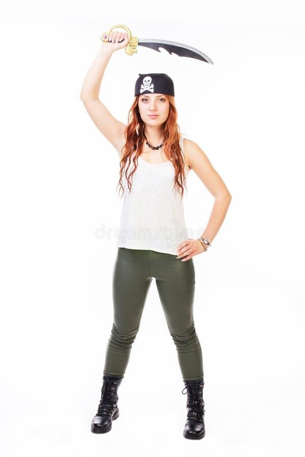 Γυναίκα που κρατά ένα ξίφος στοκ εικόνες