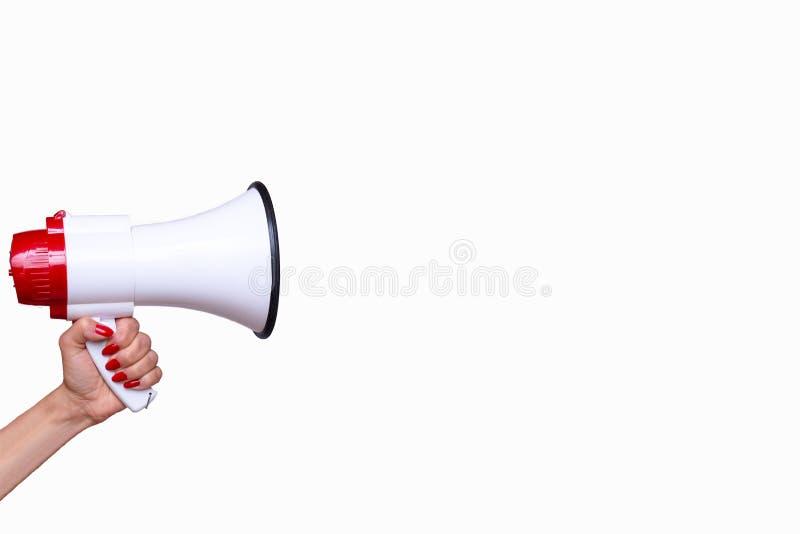 Γυναίκα που κρατά ένα bullhorn ή megaphone στοκ φωτογραφία με δικαίωμα ελεύθερης χρήσης