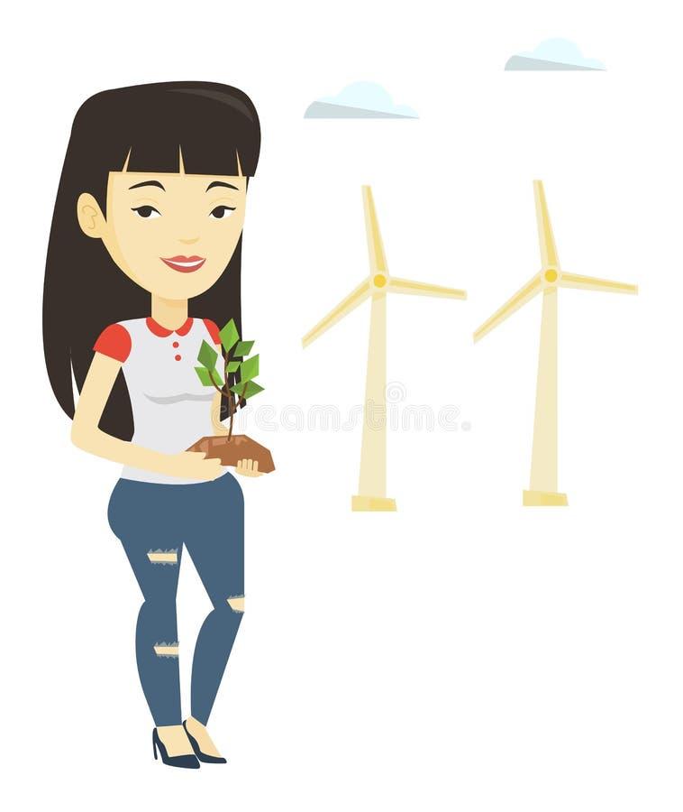 Γυναίκα που κρατά τη μικρή διανυσματική απεικόνιση εγκαταστάσεων απεικόνιση αποθεμάτων