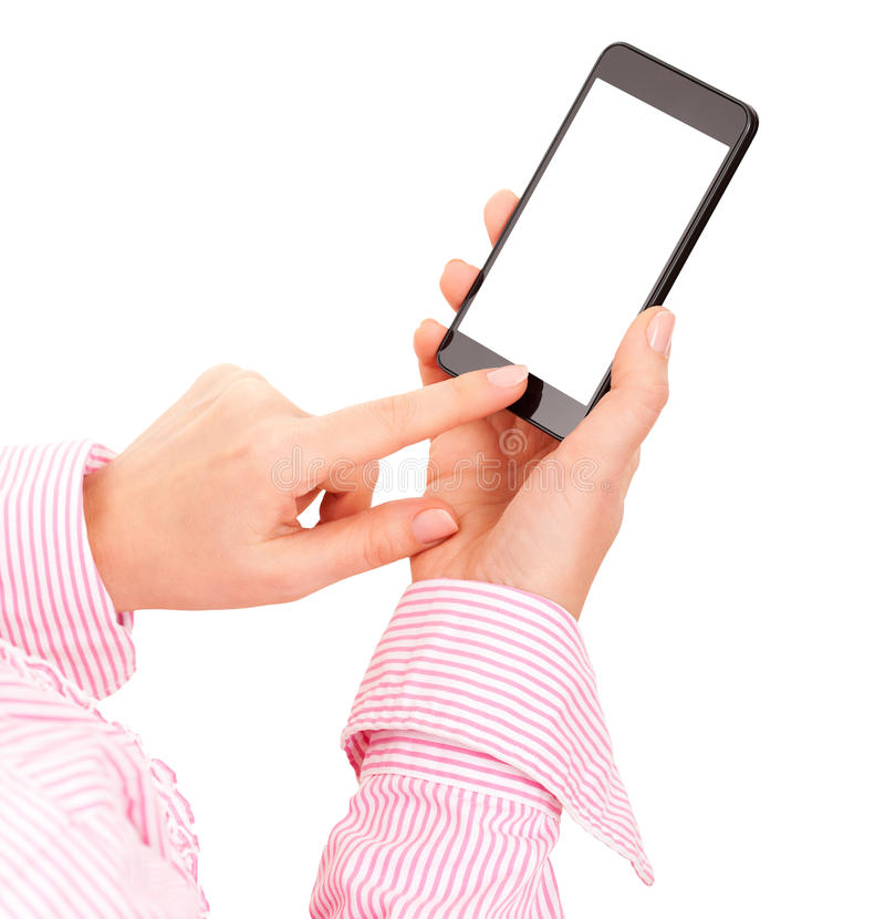 Γυναίκα που κρατά το κινητό έξυπνο τηλέφωνο στοκ εικόνες με δικαίωμα ελεύθερης χρήσης