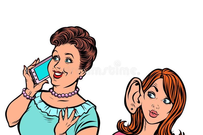 Γυναίκα που κρυφακούει στην τηλεφωνική επικοινωνία απεικόνιση αποθεμάτων