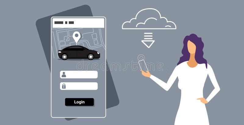 Γυναίκα που μεταφορτώνει το σε απευθείας σύνδεση κινητό app αυτοκίνητο μισθώματος που μοιράζεται το smartphone εκμετάλλευσης κορι διανυσματική απεικόνιση