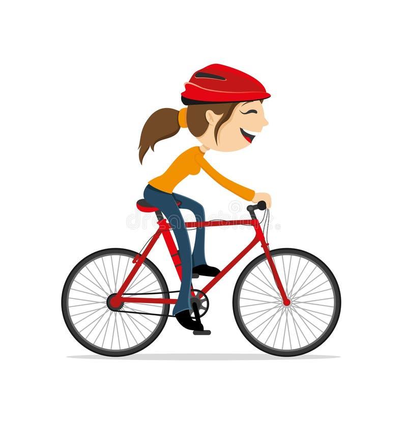 Γυναίκα που οδηγά ένα ποδήλατο διανυσματική απεικόνιση