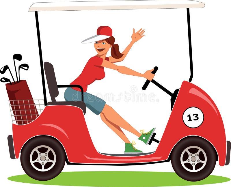 Γυναίκα που οδηγεί ένα κάρρο γκολφ απεικόνιση αποθεμάτων