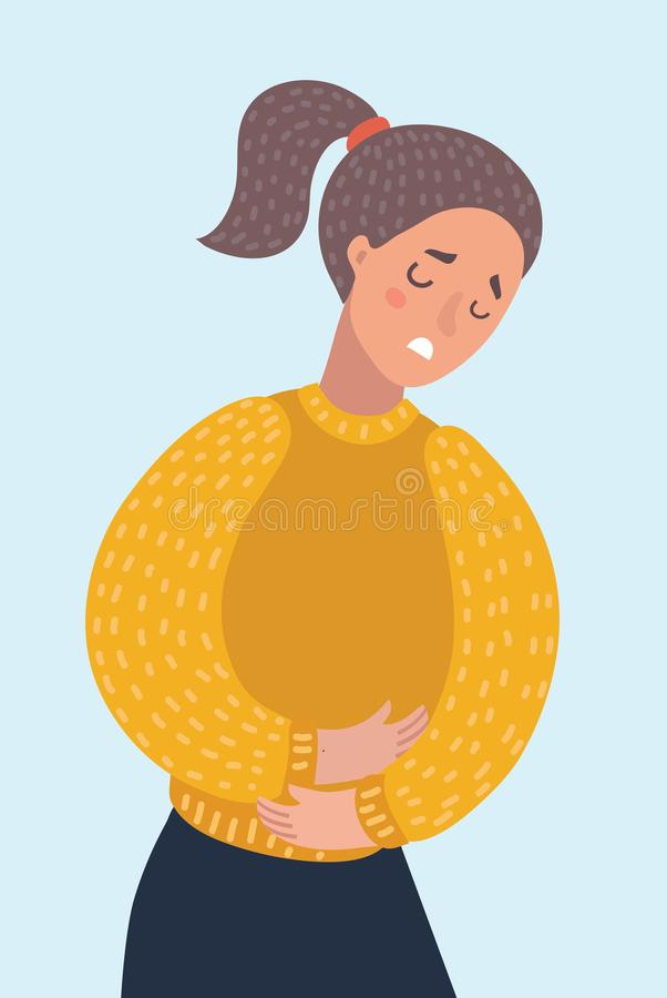 Γυναίκα που πάσχει από τον πόνο στομαχοπόνων Κορίτσι που έχει bellyache περιόδου υγεία απεικόνιση αποθεμάτων
