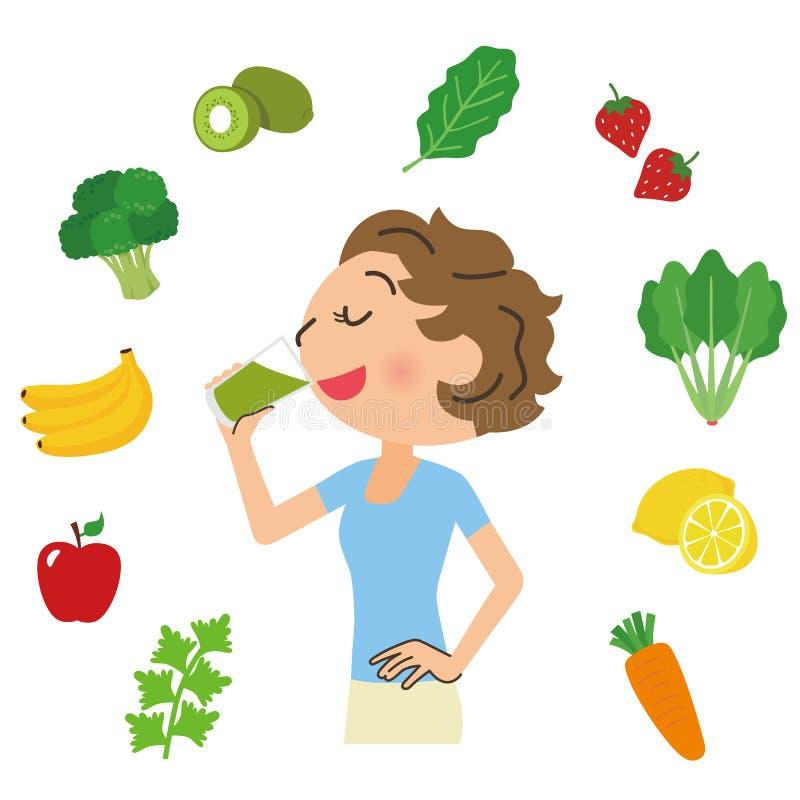 Γυναίκα που πίνει την πράσινη σούπα διανυσματική απεικόνιση