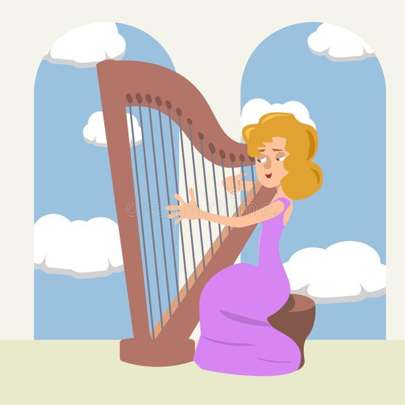 Γυναίκα που παίζει την άρπα στα ρομαντικά διανυσματικά κινούμενα σχέδια αιθουσών διανυσματική απεικόνιση