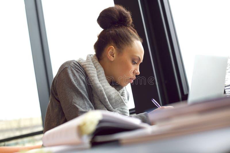 Γυναίκα που παίρνει τις σημειώσεις για τη μελέτη της στοκ φωτογραφία με δικαίωμα ελεύθερης χρήσης