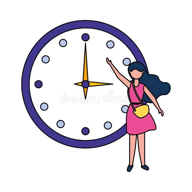 Γυναίκα που παρουσιάζει μεγάλο στρογγυλό ρολόι στοκ εικόνες