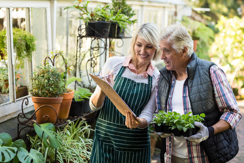 Γυναίκα που παρουσιάζει περιοχή αποκομμάτων στον αρσενικό κηπουρό στοκ εικόνα