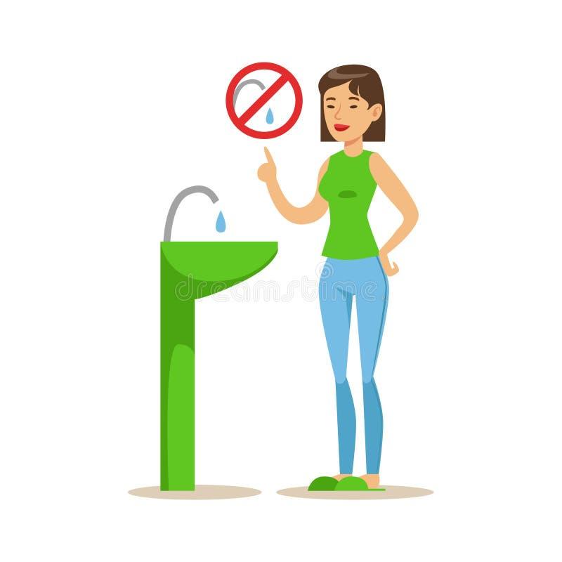 Γυναίκα που παρουσιάζει όχι στο νερό Vaste, που συμβάλλει στη συντήρηση περιβάλλοντος με τη χρησιμοποίηση της φιλικής προς το περ ελεύθερη απεικόνιση δικαιώματος