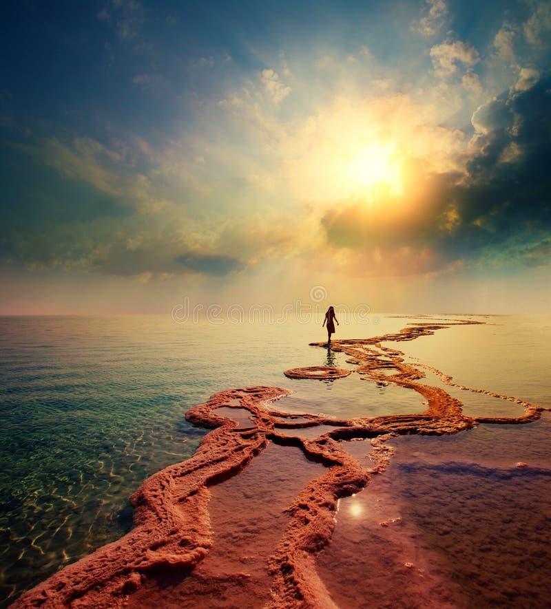Γυναίκα που περπατά στη νεκρή αλατισμένη ακτή θάλασσας στοκ φωτογραφίες με δικαίωμα ελεύθερης χρήσης