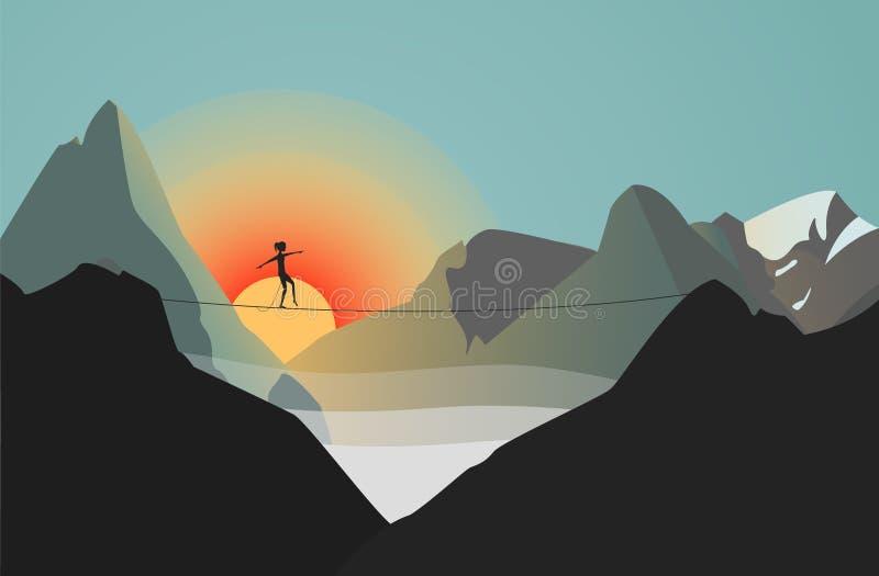 Γυναίκα που περπατά την υψηλή νωθρή γραμμή στα βουνά απεικόνιση αποθεμάτων