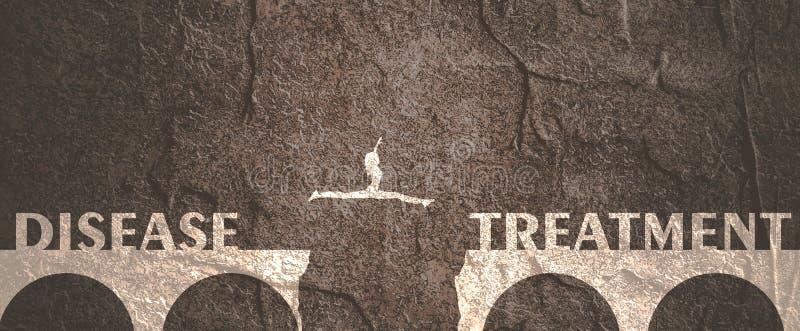 Γυναίκα που πηδά πέρα από ένα χάσμα στη γέφυρα διανυσματική απεικόνιση