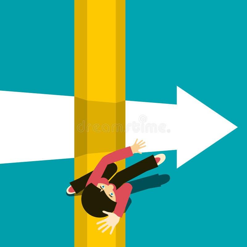 Γυναίκα που πηδά πέρα από την άβυσσο Άλμα πέρα από το χάσμα ελεύθερη απεικόνιση δικαιώματος