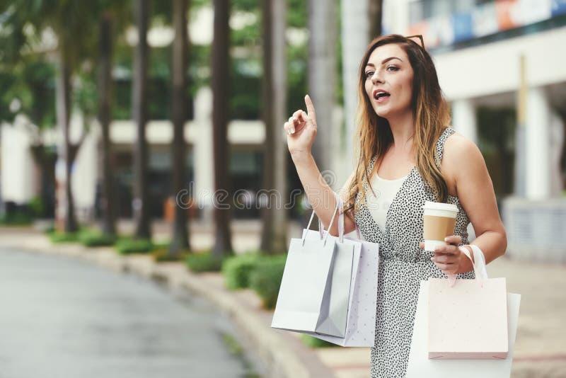 Γυναίκα που πιάνει το ταξί στοκ εικόνα με δικαίωμα ελεύθερης χρήσης
