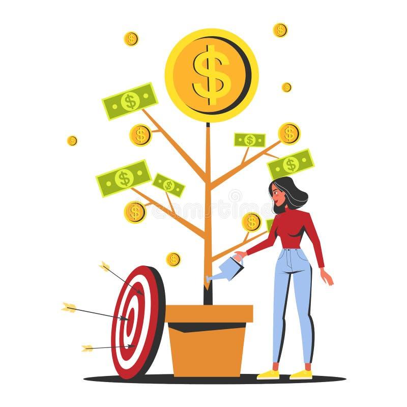 Γυναίκα που ποτίζει την ανάπτυξη δέντρων χρημάτων σε ένα δοχείο απεικόνιση αποθεμάτων