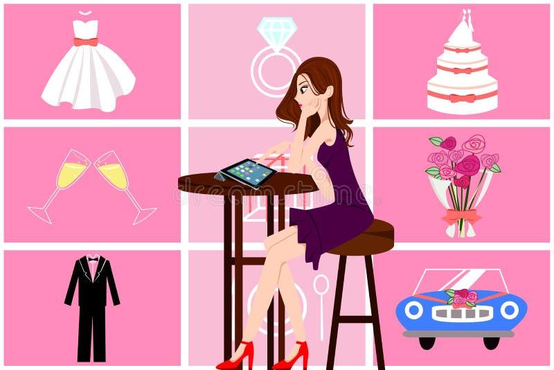 Γυναίκα που προγραμματίζει το γάμο της διανυσματική απεικόνιση