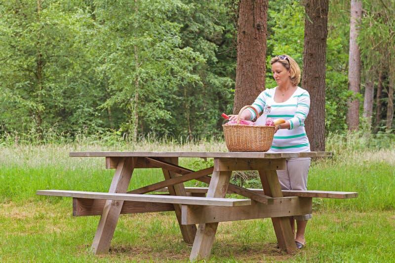 Γυναίκα που προετοιμάζει ένα πικ-νίκ στοκ εικόνες