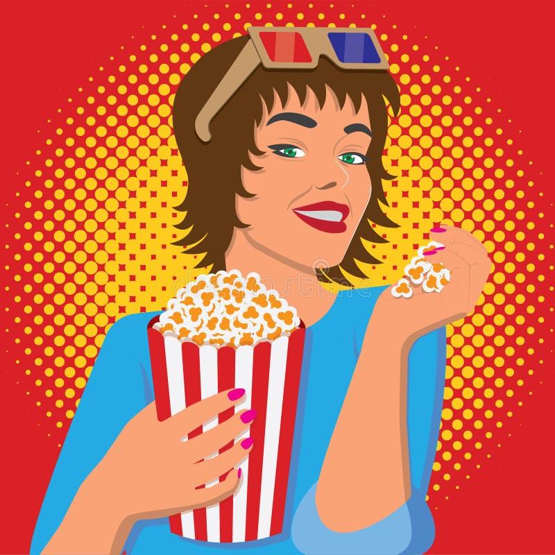 Γυναίκα που προσέχει έναν κινηματογράφο, που χαμογελά και που τρώει popcorn διανυσματική απεικόνιση