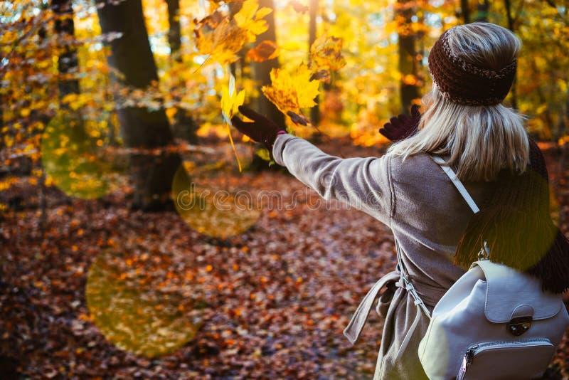 Γυναίκα που ρίχνει τα φύλλα φθινοπώρου στον αέρα Ξένοιαστη, έννοια ευτυχίας Φυσικό πάρκο πτώσης στοκ φωτογραφία