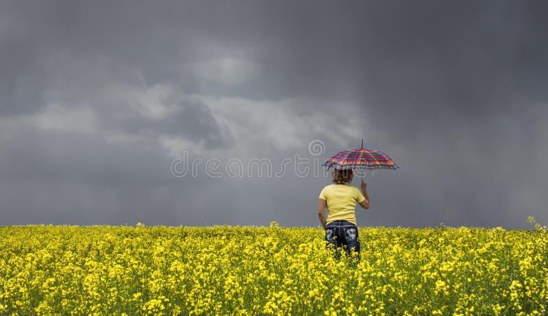 Γυναίκα που στέκεται σε έναν τομέα canola που κρατά μια φωτεινή χρωματισμένη ομπρέλα στοκ εικόνες