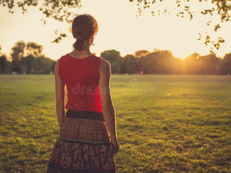 Γυναίκα που στέκεται στο πάρκο που θαυμάζει το ηλιοβασίλεμα στοκ φωτογραφίες με δικαίωμα ελεύθερης χρήσης