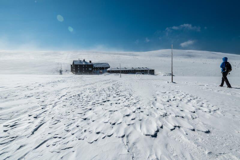 Γυναίκα που στα βουνά Krkonose προς το bouda Lucni μια ηλιόλουστη χειμερινή ημέρα, Τσεχία στοκ φωτογραφία με δικαίωμα ελεύθερης χρήσης