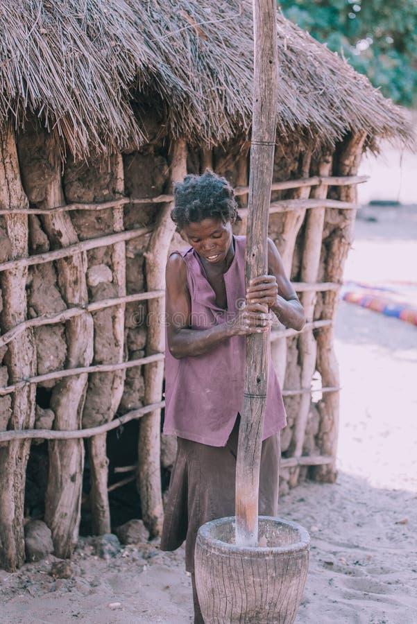 Γυναίκα που συντρίβει το κεχρί, Αφρική, Ναμίμπια στοκ εικόνες