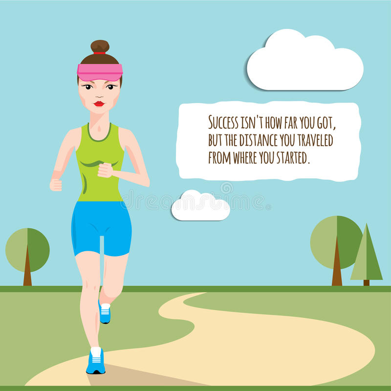 Γυναίκα που τρέχει πέρα από τον τομέα το πρωί ελεύθερη απεικόνιση δικαιώματος