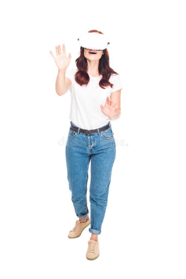 Γυναίκα που χρησιμοποιεί την κάσκα VR στοκ φωτογραφίες