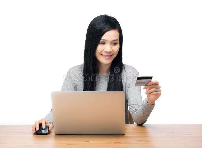 Γυναίκα που χρησιμοποιεί το φορητό προσωπικό υπολογιστή για on-line να ψωνίσει στοκ φωτογραφία