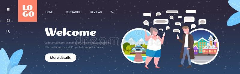Γυναίκα που χρησιμοποιεί smartphones online chatting app social network chat, ιδέα επικοινωνίας με φυσαλίδες μηνυμάτων ζευγάρι διανυσματική απεικόνιση