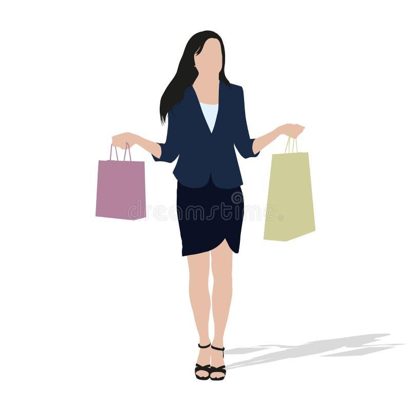 Γυναίκα που ψωνίζει και που κρατά τις τσάντες αγορών ελεύθερη απεικόνιση δικαιώματος