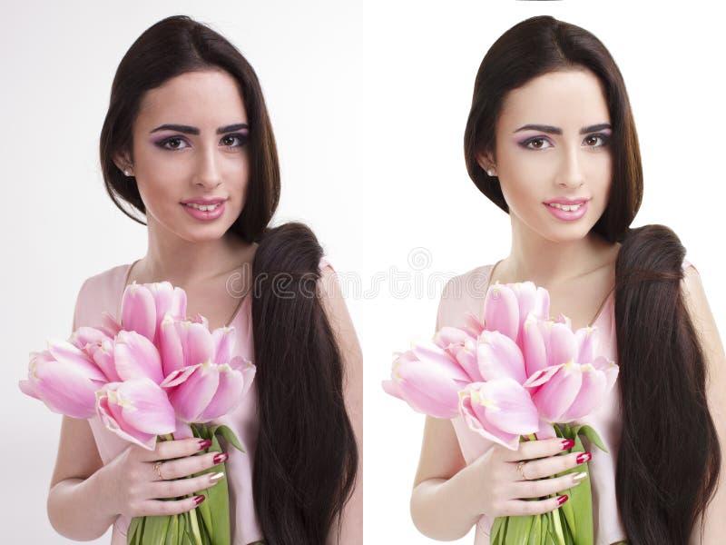 Γυναίκα, πριν και μετά από το ρετουσάρισμα στοκ εικόνα