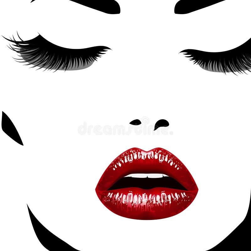 γυναίκα προσώπου s Vectorillustration Ρεαλιστικά κόκκινα κομψά eyelashes χειλικής ANN διανυσματική απεικόνιση