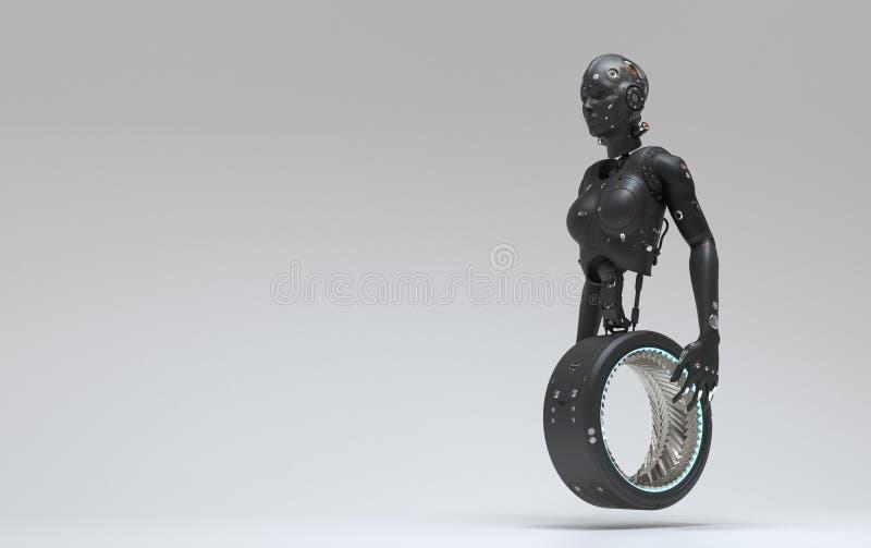 Γυναίκα ρομπότ, ψηφιακός κόσμος γυναικών sci-Fi του μέλλοντος ελεύθερη απεικόνιση δικαιώματος