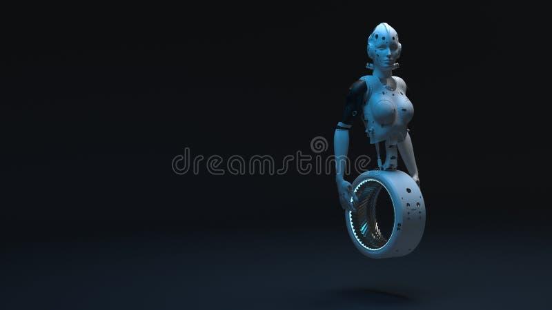 Γυναίκα ρομπότ, ψηφιακός κόσμος γυναικών sci-Fi του μέλλοντος απεικόνιση αποθεμάτων