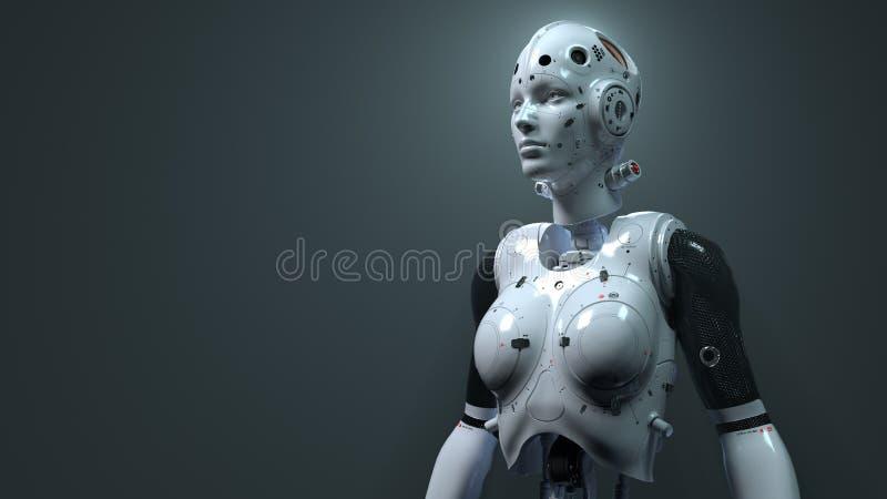 Γυναίκα ρομπότ, ψηφιακός κόσμος γυναικών sci-Fi του μέλλοντος των νευρικών δικτύων και ο τεχνητός απεικόνιση αποθεμάτων