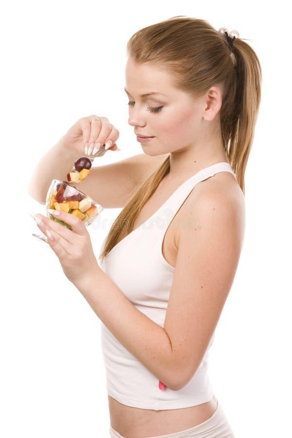 γυναίκα σαλάτας κύπελλ&omega στοκ εικόνα με δικαίωμα ελεύθερης χρήσης