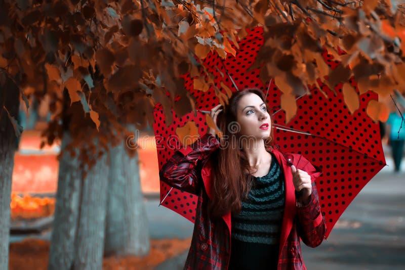 Γυναίκα σε ένα αδιάβροχο και μια ομπρέλα στοκ εικόνες