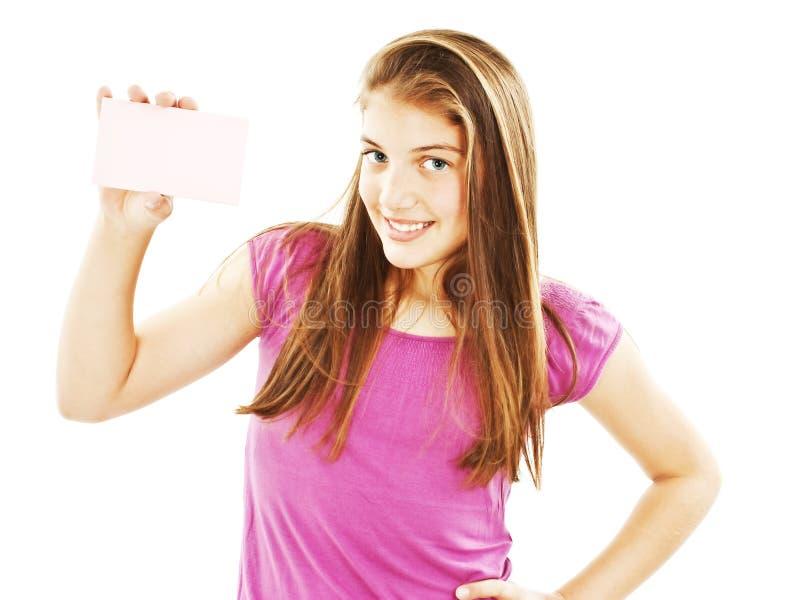 γυναίκα σημαδιών δώρων καρτών στοκ εικόνες