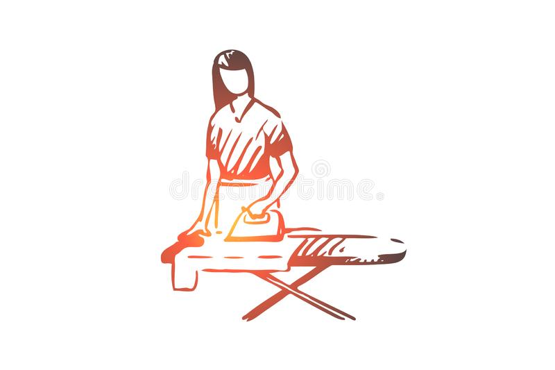 Γυναίκα, σιδέρωμα, οικιακά, ενδύματα, εσωτερική έννοια Συρμένο χέρι απομονωμένο διάνυσμα ελεύθερη απεικόνιση δικαιώματος