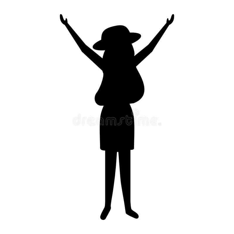 Γυναίκα σκιαγραφιών με το καπέλο και το σακίδιο πλάτης απεικόνιση αποθεμάτων
