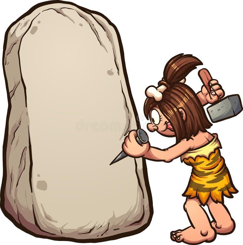 Γυναίκα σπηλιών κινούμενων σχεδίων που γράφει στην πέτρα ελεύθερη απεικόνιση δικαιώματος