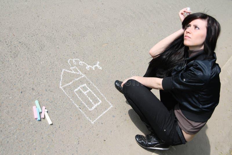 γυναίκα σπιτιών σχεδίων στοκ φωτογραφία με δικαίωμα ελεύθερης χρήσης